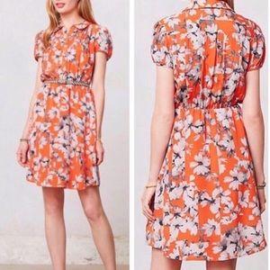 Orange Maeve silk shirt dress.